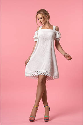 Асиметричне розкльошені літнє жіноче плаття з мереживом, фото 2