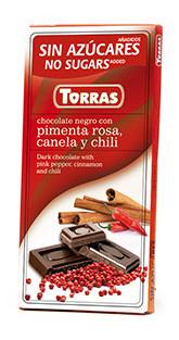 Чорний шоколад Torras c рожевим перцем, корицею і перцем чилі без цукру , 75 гр