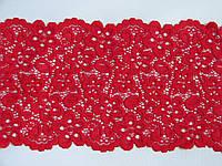 Стрейчевое кружево -455,ширина 13.5см,цвет красный