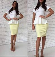 Классическое платье миди комбинированное с баской . Разные цвета и размеры. Розница, опт.