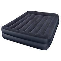 Двуспальная велюровая надувная кровать Intex 64124, со встроенным насосом 220V, 203 х 152 х 42 см