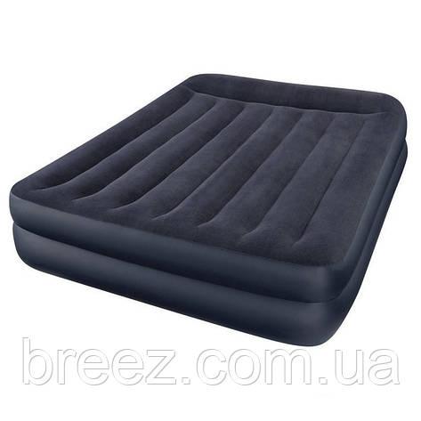 Двуспальная велюровая надувная кровать Intex 64124, со встроенным насосом 220V, 203 х 152 х 42 см , фото 2