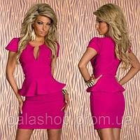 Классическое женское платье мини с баской . Разные цвета и размеры. Розница, опт.
