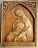 Икона резная святых Петра и Февронии