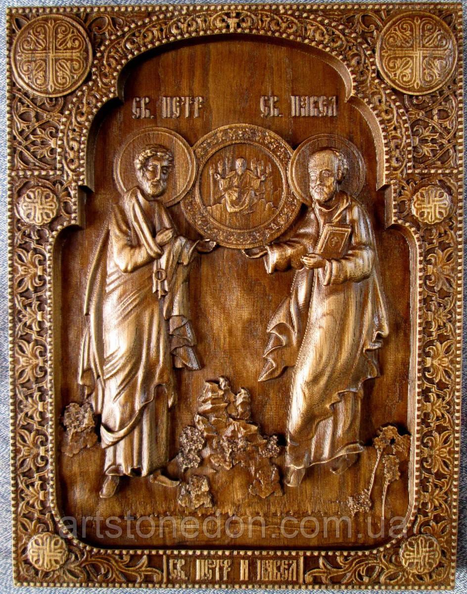 Апостолы Петр и Павел икона резная