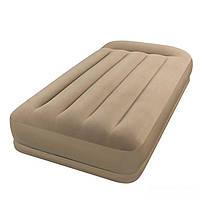 Надувная велюровая кровать Intex 67742 с подголовником, бежевая, со встроенным насосом 220V, 191 х 99 х 35 см , фото 1