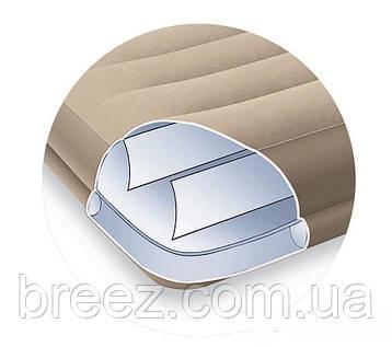 Надувная велюровая кровать Intex 67742 с подголовником, бежевая, со встроенным насосом 220V, 191 х 99 х 35 см , фото 2
