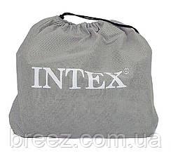 Надувная велюровая кровать Intex 67742 с подголовником, бежевая, со встроенным насосом 220V, 191 х 99 х 35 см , фото 3