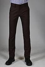 Коричневые в черную полоску мужские брюки