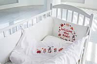 Детское постельное белье  «Лесные животные» , САТИН 100%, белый