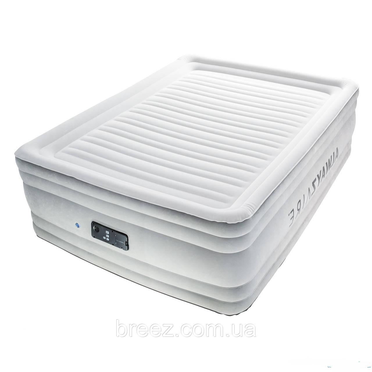 Двухспальная надувная флокированная кровать Bestway 67570, белая,со встроенным насосом 220V, 203 х 152 х 56 см