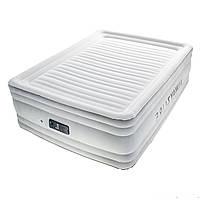 Двухспальная надувная флокированная кровать Bestway 67570, белая,со встроенным насосом 220V, 203 х 152 х 56 см, фото 1