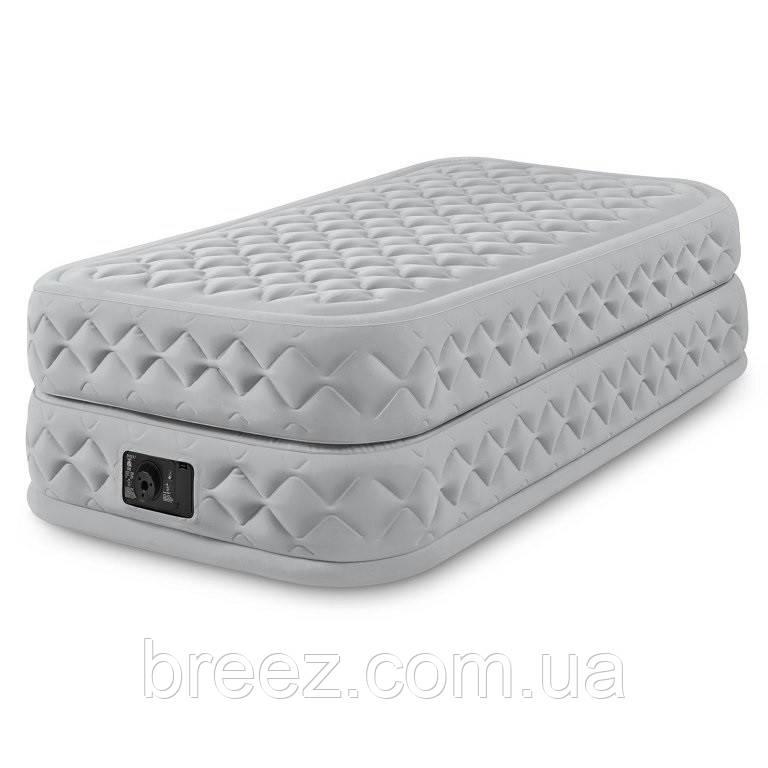 Велюровая надувная кровать Intex 64462, серея, со встроенным насосом 220V, 191 х 99 х 51 см