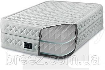 Велюровая надувная кровать Intex 64462, серея, со встроенным насосом 220V, 191 х 99 х 51 см, фото 2