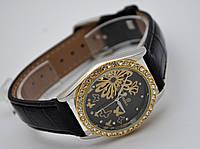 Женские часы GOER - Fly - механические с автозаводом, цвет золото на черном ремешке, фото 1