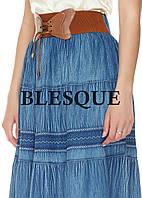 Юбка джинсовая с поясом синяя