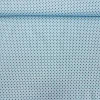 Ткань шпильки c черными точками 2 мм на бирюзовом фоне, ширина 160 см, фото 1