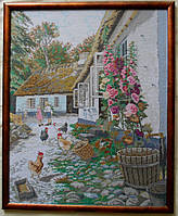 """Вышитая картина """"Сельский дворик"""" (вышита вручную, крестиком)."""