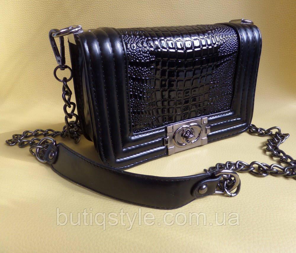 Модная женская маленькая сумка черная лаковая Шанель