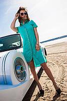 Платье женское 457 пуговицы стразы асиметрия полу батал (лето)