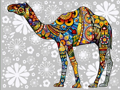 Раскраска по цифрам 30×40 см. Цветочный верблюд