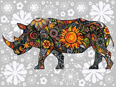 Раскраска по цифрам 30×40 см. Цветочный носорог