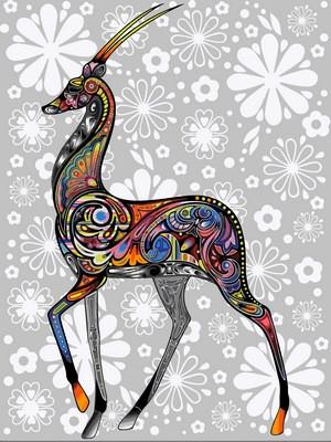 Раскраска по цифрам 30×40 см. Цветочная антилопа