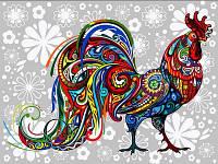 Раскраска по цифрам 30×40 см. Цветочный петух, фото 1