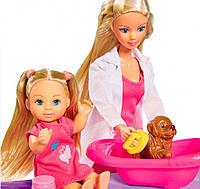 Кукольный набор Штеффи и Эви, Ветеринарная клиника с животными, Steffi & Evi Love