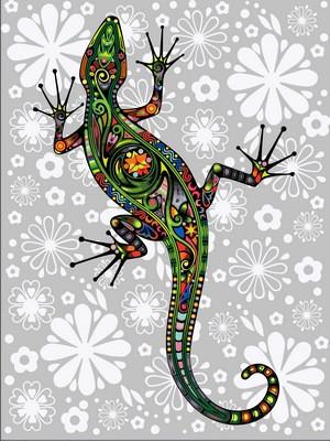 Раскраска по цифрам 30×40 см. Цветочная ящерица
