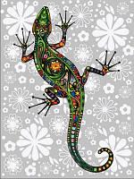 Раскраска по цифрам 30×40 см. Цветочная ящерица, фото 1