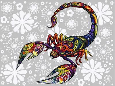 Раскраска по цифрам 30×40 см. Цветочный скорпион