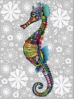 Картины по номерам 30×40 см. Цветочный морской конек, фото 1