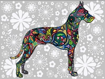 Раскраска по цифрам 30×40 см. Цветочный дог