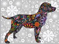 Картины по номерам 30×40 см. Цветочная собака, фото 1