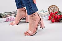 Кожаные женские босоножки Olimpia на каблуке пудра