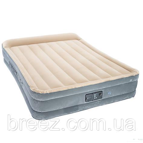 Двухспальная надувная флокированная кровать Bestway 67566, бежевая, со встроенным насосом 220V, 203 , фото 2