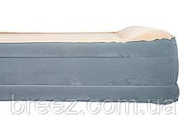 Двухспальная надувная флокированная кровать Bestway 67566, бежевая, со встроенным насосом 220V, 203 , фото 3