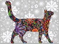 Картины по номерам 30×40 см. Цветочный кот