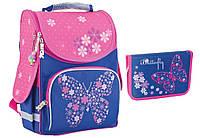 "Комплект. Рюкзак школьный каркасный Flower butterfly 553326 + пенал, ТМ ""Smart"""