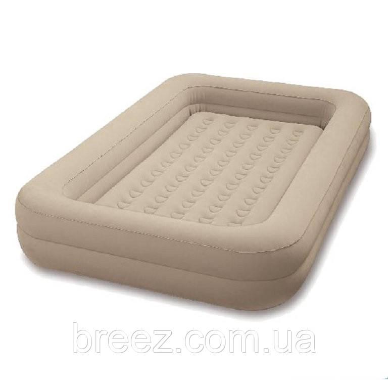 Детская надувная флокированная кровать Intex бежевая, 107 х 168 х 25 см