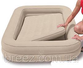Детская надувная флокированная кровать Intex бежевая, 107 х 168 х 25 см, фото 2