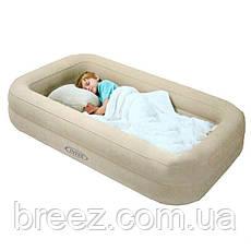 Детская надувная флокированная кровать Intex бежевая, 107 х 168 х 25 см, фото 3