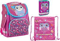 """Комплект. Рюкзак школьный каркасный Cute Owl 553330 + пенал + сумка, ТМ """"Smart"""""""