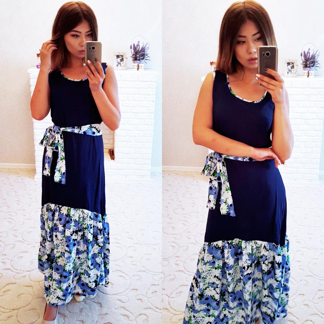 77b0cac5d39 Элегантное летнее длинное платье в больших размерах 4022-1