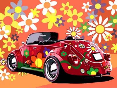 Расскраска по цифрам 30×40 см. Цветочный ретро-мобиль