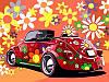 Раскраски для взрослых 30×40 см. Цветочный ретро-мобиль