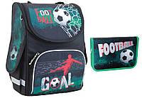 """Комплект. Рюкзак школьный каркасный Green football 553419 PG-11 + пенал, ТМ """"Smart"""""""