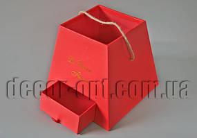 Короб картон подар.Трапеция красная с выдвижным ящиком 20х20х18,5см