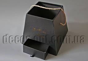 Коробка Трапеция черная с выдвижным ящиком 20х20х18,5см